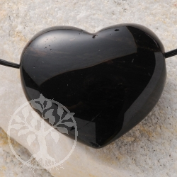 Red Gold Obsidian Heart Pendant Belly BIG