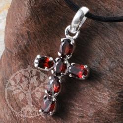 Granat Kreuz in Silber