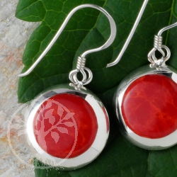 Coral Silver Earrings round