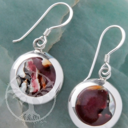 Mother of Perl Silver Earrings brown