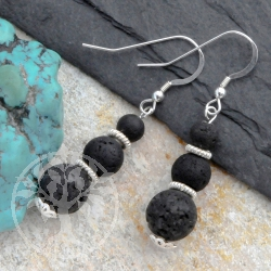Silver Earrings Lava Balls