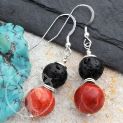 Lava Balls Coral Earrings