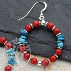 Silver Earrings Red Blue