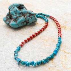 Gemstone Necklace Blue Red