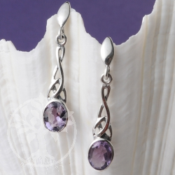 Silver Earrings Amethyst Art Nouveau