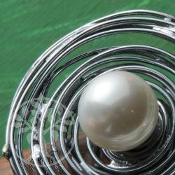 Perlenring Wasserkreise rhodoniert Silber 925