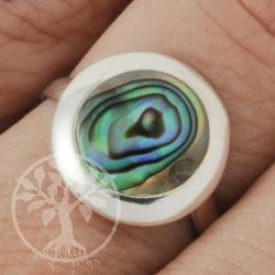 Perlmutt Ring blau rund 15mm