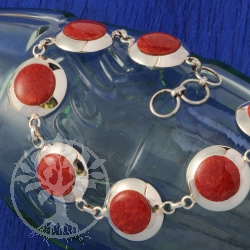 Coral Bracelet Silver round