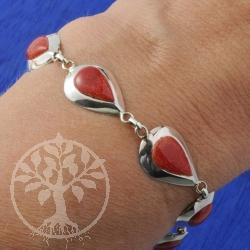 Silber Armband Koralle Tropfen in Silber 925 Fassung