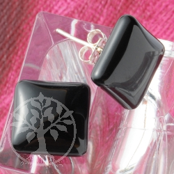 Onyx Earrings Black Stone