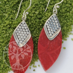 Coral Earrings Silver Fish