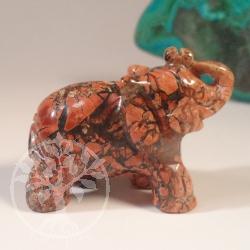 Elefant Figur Brekzien Jaspis