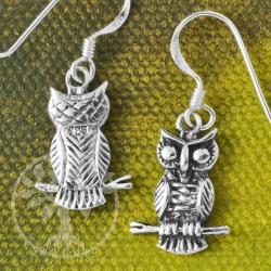 Silver Earring Owl