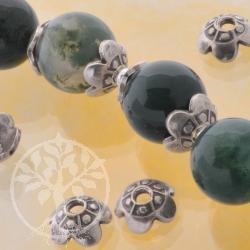 Bead Cap  Perlenkappe - Silber 925 chinesische Mauer 4 Stk Beadcaps