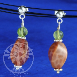 Fire Agate Earrings with Peridot