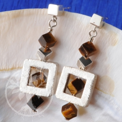 Tiger Eye Earrings Silver Cube