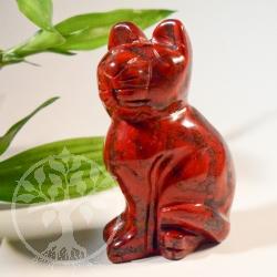Katze roter Jaspis Steinfigur