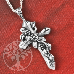 Silver Cross Pendant Flower Tendril