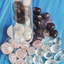 Amethyst, Bergkristall, Rosenquarz Wassersteine Reagenzglas 250g