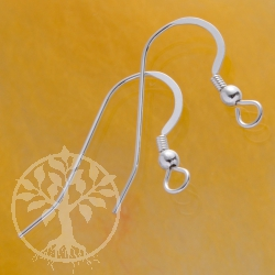 Ohrhaken Flach Spirale mit Perle Silber 925