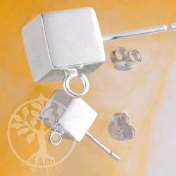 Würfel Ohrstecker mit Öse 6 mm Silber 925 ohne Hinterteil