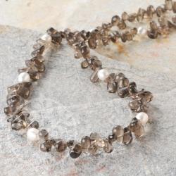 Smoky Quartz Pearl Gemstone Necklace