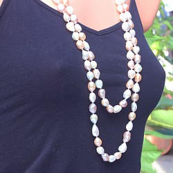 Pearl necklace very long 160cm long cultured pearl necklace XL pastel colors