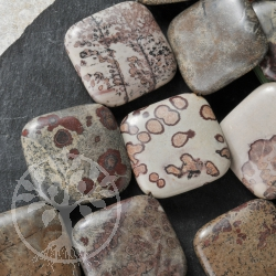 Flower Stone Beads Square Porcelanite 40cm