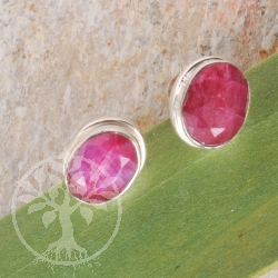 Ruby Silver faceted oval Plugs
