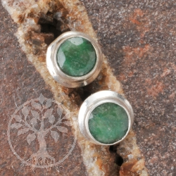 Emerald Earrings faceted Silver