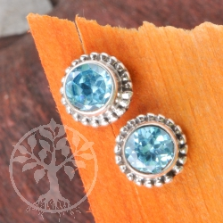 Topaz Earrings faceted Sun Gemstone 7-8mm Sterlingsilver