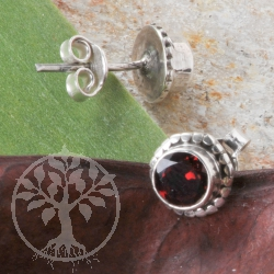 Garnet Earrings Silver Sun