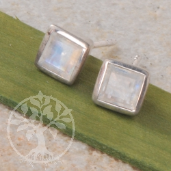 Moonstone Square Silver Earrings