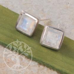 Mondstein Sterling Silber 925 Ohrstecker Quadrat