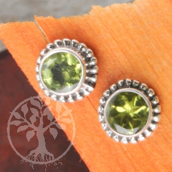 Peridot Earrings Silver Sun