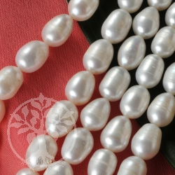 Zuchtperlen Reiskorn Perlen Natur gerillt 10x7mm/40cm