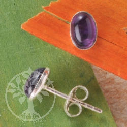 Amethyst Silber Ohrstecker oval