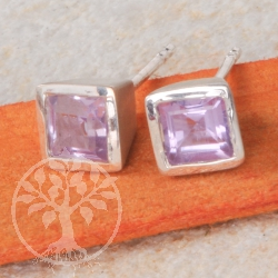 Amethyst Square Silver Earrings