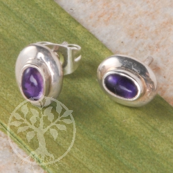 Amethyst ovale Silber Ohrstecker