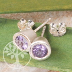 Amethyst Silver Stud Earrings cylinder