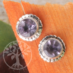Amethyst Silver Sun Earrings