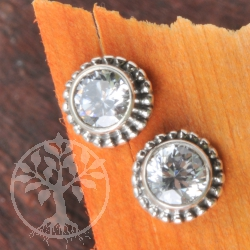 Topaz White Earrings Silver Sun