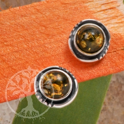 Green Amber Earrings Silver