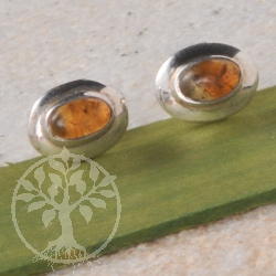 Citrine Silver Earrings Oval