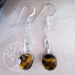 Tigers Eye Silver Ball Earrings faceted