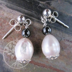 Pearls Silver Earrings Black and White