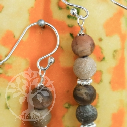 Petrified Wood Silver Earrings 925 Sterlingsilver