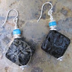 Lava Turquoise Square Silver Earrings