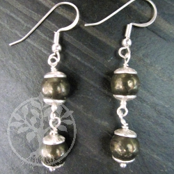 Gold Pyrite Ball Silver Earrings