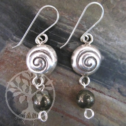 Pyrite Earrings Silver Snail Shell